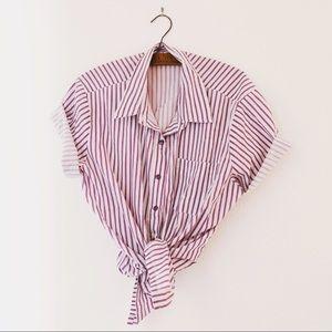 Vintage striped purple snap button front shirt XL